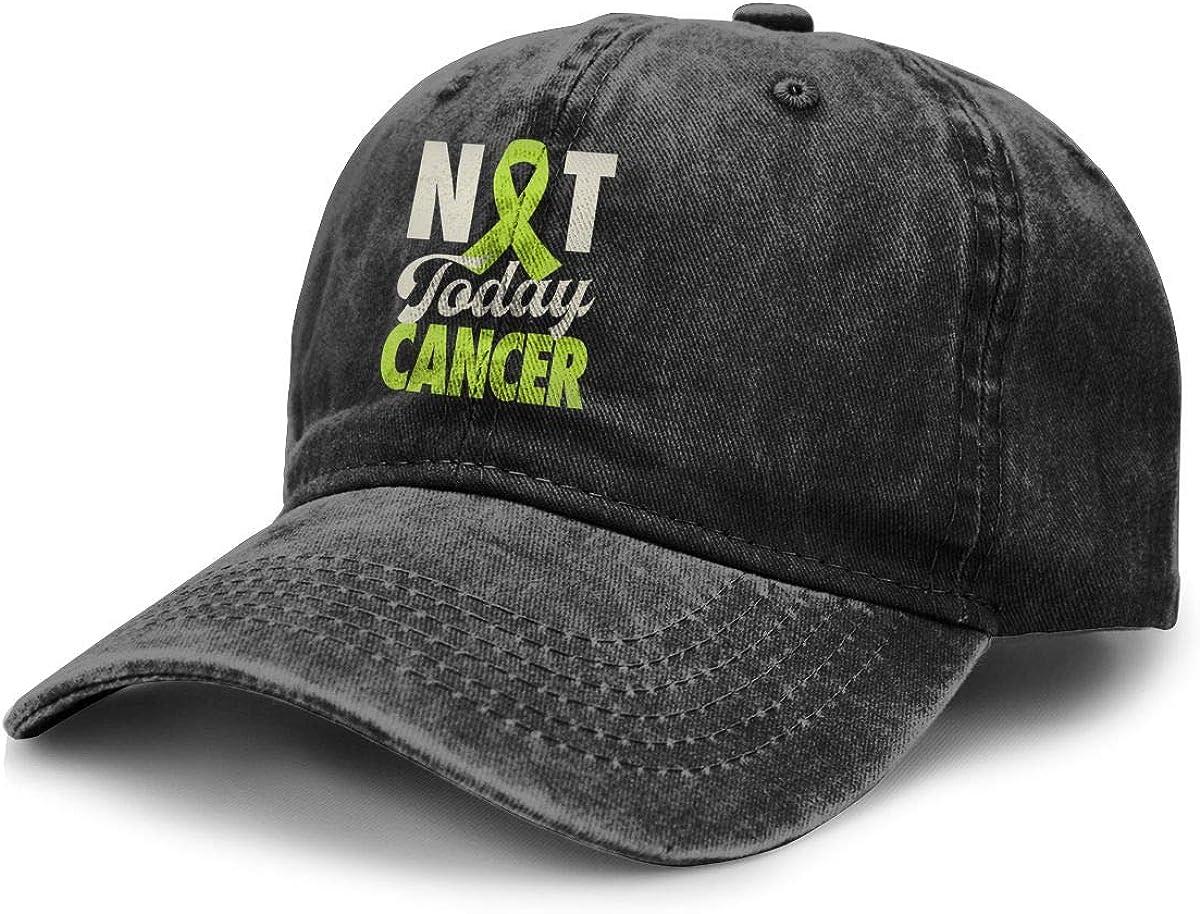 Not Today Lymphoma Cancer Lime Green Ribbon Cowboy Baseball Caps Denim Hats for Men Women