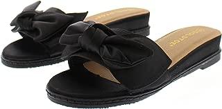 Arelle Womens Bow Sandals,Slip On Wedges for Women,Low Wedge Open Toe Sandal Platform Slides,Dress Shoes