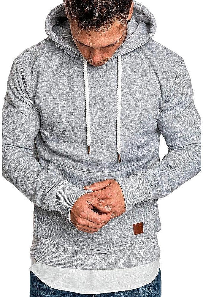 Aayomet Men's Hoodies Autumn Casual Solid Color Blend Fleece Long Sleeve Drawstring Slim Fit Tops Hoodies