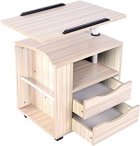Emall Life - comodino funzionale - comodino regolabile in legno con cassetti, ruote e ripiano aperto, 3colori moderno White Maple