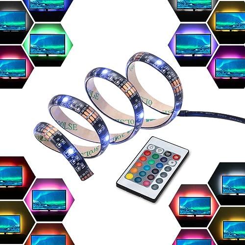 LED Light Strip Bar USB 2M 12V Bias Backlight RGB Light with Remote Control IP65 Waterproof, 50cm*4 Strips for TV Scr...