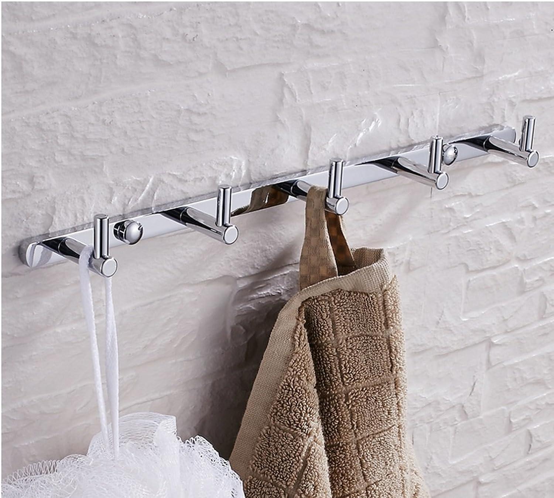 RFJJAL Silver All Copper Bathroom Hook Row Hook Solid Chrome Coat Clothes Hook Accessories Key Hook (Size   Hook Seven)