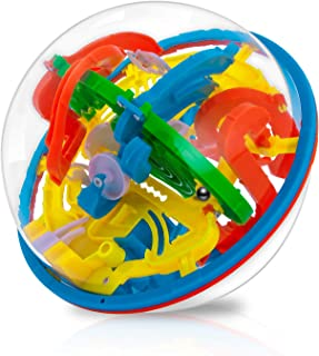 Maze Ball, WETONG 3D Puzzle Games Intellect Ball (16cm/6.3'') with 118 Challenging Barriers Education 3D Labyrinth Ball for Kids 3D Puzzle Toys Magical Maze Ball Brain Teasers Puzzle Games