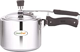 Greenchef 3 Litre Inner lid Aluminium Pressure Cooker with Inner Lid, 3 litres, Silver