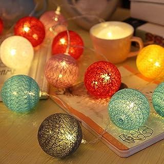 Bolas de algodón LED cadena luz - ELINKUME 20LED RGB