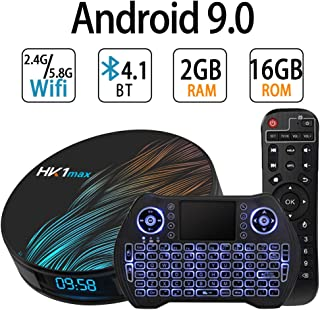 Android TV Box 9.0,RK3318 Smart TV Box 2GB 16GB Support 2.4G 5.8G WiFi Bluetooth 4.1 with Mini Backlit Keyboard Ethernet LAN 3D 4K Video Android TV Player Google Mini PC Set Top TV Box