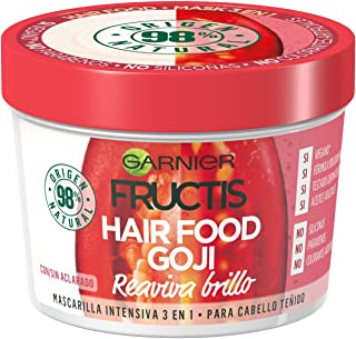 Garnier Fructis Hair Food Goji - Mascarilla intensiva 3 en 1 para cabello teñido (3 x 390 ml)