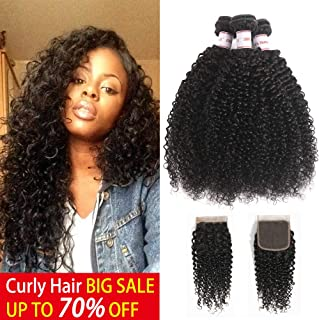 Hepoiss Brazilian Kinky Curly Virgin Hair 3 Bundles With Closure 8A Brazilian Curly Virgin Hair Extensions Human Hair With Free Part Lace Closure (14