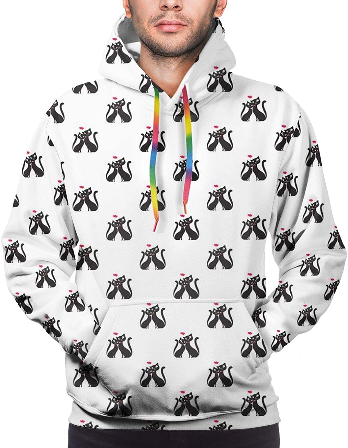 Men's Hoodies Sweatshirts,Romantic Couple of Cats in Love Cute Hearts Valentines Togetherness Happiness
