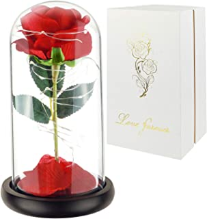 Childom Beauty and The Beast Rose, Roses Enchanted Red Silk Rose with Fallen Petals Led Fairy String Lights in A Dome, Gifts for Anniversary, Wedding (Black Base-A)