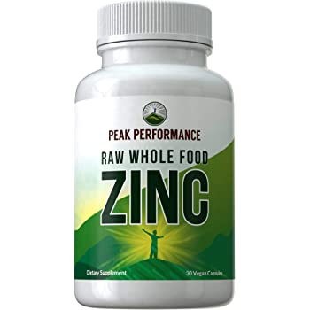Raw Whole Food Best Zinc Vegan Supplement with Vitamin C + Over 25 Organic Vegetables and Fruits for Max Absorption. by Peak Performance. Zinc Supplements 30mg Capsules, Pills, Tablets, Vitamins
