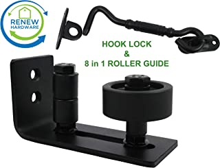 Barn Door Floor Guide Stay Roller with Iron Hook Door Lock   Flush Design (8 Setup Options)   for All Barn Doors   Bottom Bracket Sits Flat On Ground   One Adjustable Wall Guide per Unit Ordered