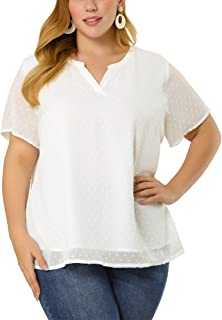 Agnes Orinda Plus Size Blouses for Women Pin Dots Round Neck Cute Basic Top