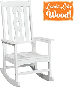 PolyTEAK Poly Outdoor Rocking Chair, Powder White | Adult-Size, Weather Resistant, Porch and Patio Rocker | Made from Special Formulated Poly Lumber Plastic