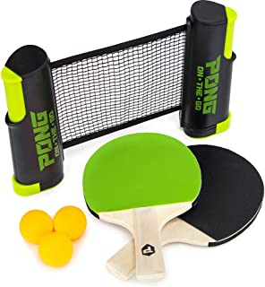 Pong on The Go Portable Table Tennis Playset - Comes with Net, 2 Black/Green Paddles, 3 Balls, and Carry Bag - Indoor/Outdoor Tabletop Travel Game Alternative to Pong Tables for All Ages