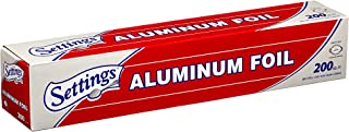 "Settings Aluminum Foil, 12"" X 200 Feet, Silver Paper Wrap, Great For Cooking Baking Roasting Or Bbqing, Home Or Commercial..."