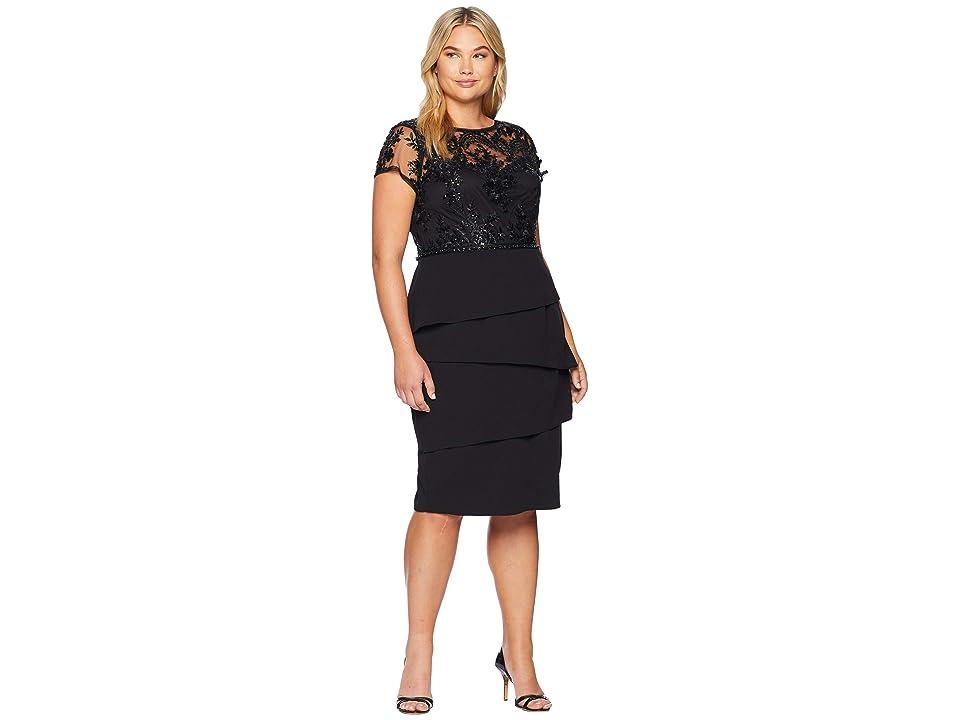 Adrianna Papell Plus Size Short Sequin Dress (Black) Women