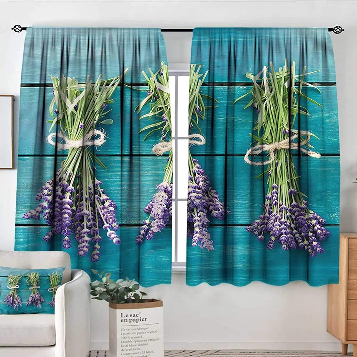 Sanring Lavender,Indo Panes Drapes bluee Wooden Planks Rustic 52 x63  Kids Backout Curtains for Bedroom