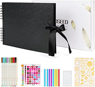 Album Photo Scrapbooking 80 Pages, KOOSEED DIY Album Photo Vierge Pages Noire Papier, Livre Album Photo A4 Spirales pour B...