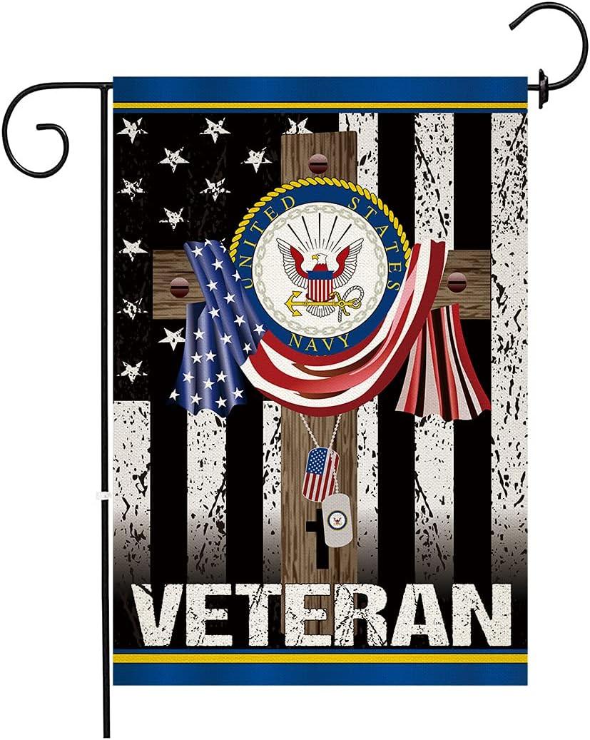 Chengxun Jesus Cross USA Flag For Christian VET Veteran Day Gift Memory Garden Flag For Solider Double Sided Outdoor Decor Flag 12.5×18 inches
