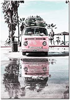 Life-Center-Store Sandy Beach Canvas Nordic Style Travel Poster Scandinavian Wall Art Print Pink Bus Seascape Painting Tropical Decoration Picture,50x75cm Unfamed,Picture 5