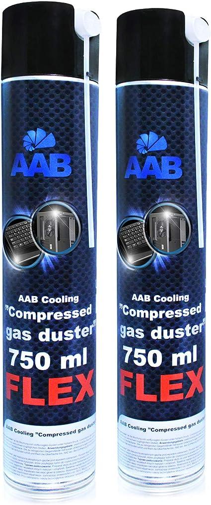 AABCOOLING Compressed Gas Duster FLEX 750ml - Conjunto de 2 - Spray Aire Comprimido con un Tubo Flexible, Limpiar Teclado, Limpia Polvo, Botella de ...