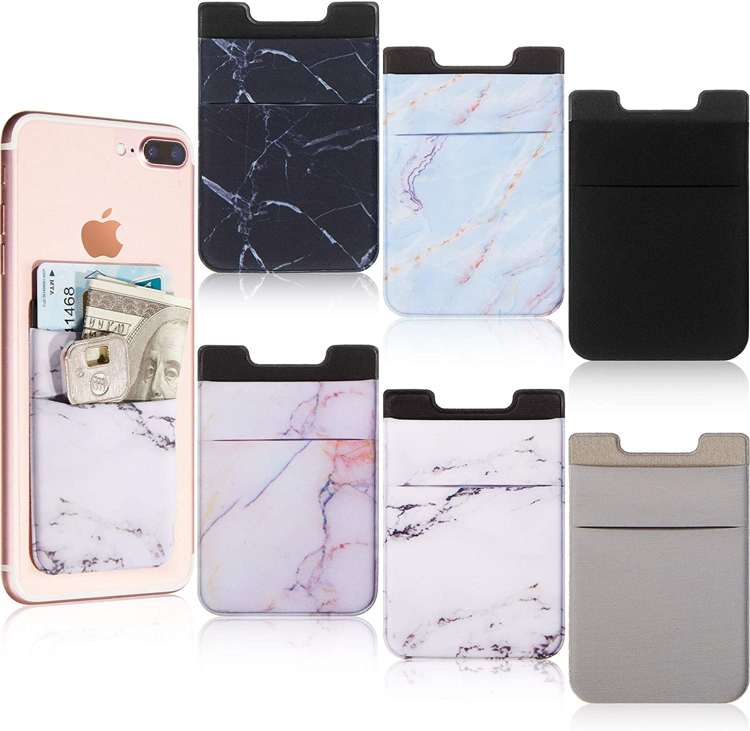 6 Pieces Stretchy Marble Cell Phone Sticker Phone Card Holder Sleeve Wallet ID Card Case Sticker Adhesive Phone Pouch Pocket Sticker for Smartphones, Indoor Outdoor Uses, 6 Styles