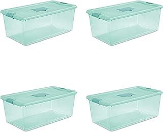 STERILITE 15097Y04 Fresh Scent Box, 106 Quart, Tint Base, Aqua Chrome Lid with Teal Splash Latches