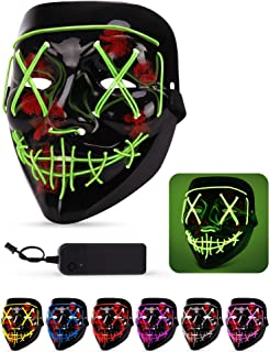 Lizber Halloween Mask, Led Light Up Mask with Neon Wires, Adjustable Scary Masquerade Glow Mask for Festivals, Parties, Carnivals and Raves, Glowing Mask for Men, Women, Kids, Neon Green