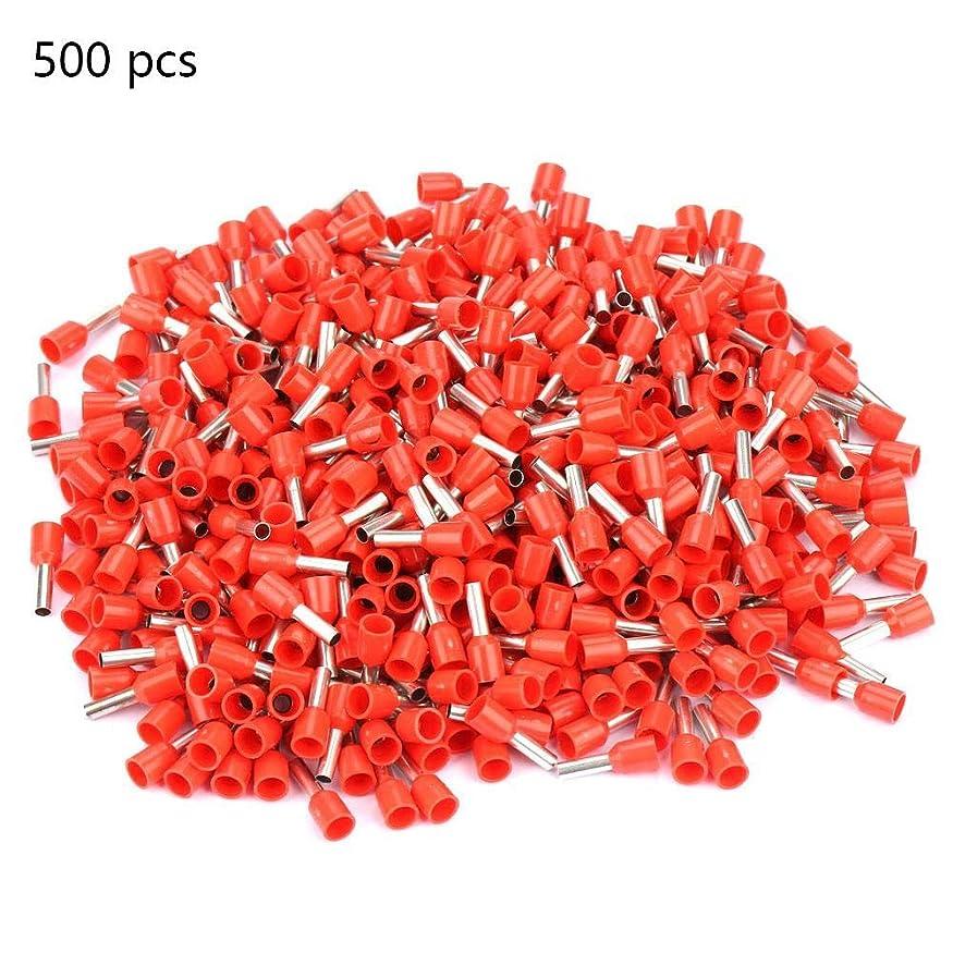 建設ブランド悲惨な管状端子、500個/セットE2508コールドプレス端子管絶縁端子ケーブルコネクタ(赤)