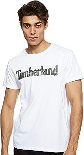 Timberland Men's Kennebec River Pattern Linear Logo SS T-Shirt