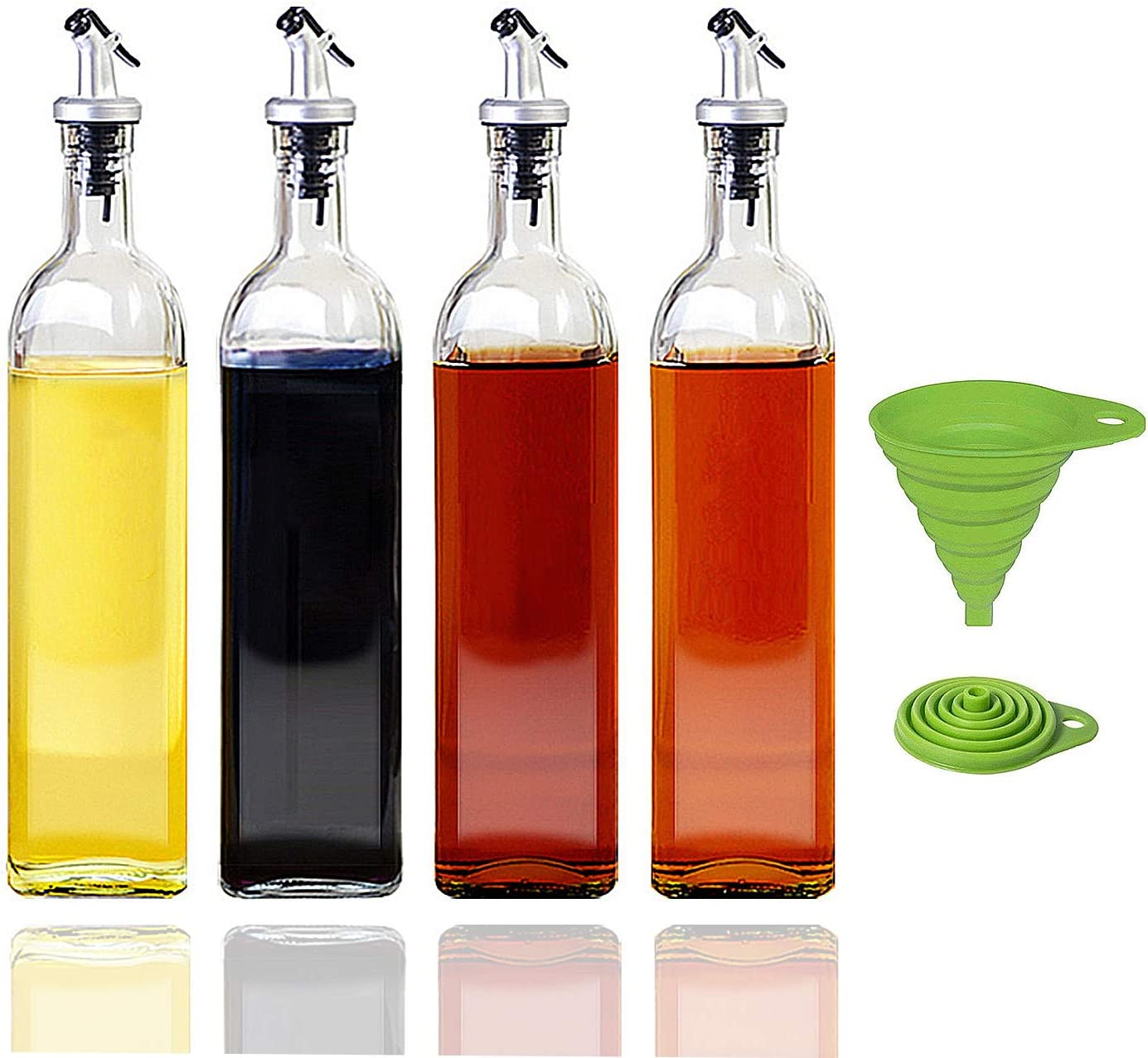 17oz Olive Albuquerque Mall Oil Dispenser Bottle 5 ☆ very popular Set Pcs Silicone Collapsi 1 with