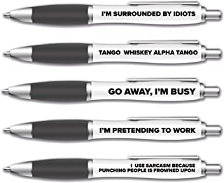 Sponsored Ad – 5 Pack of Ballpoint Pens - Funny Pen Set For Colleagues - Funky Stationery Quirky Gift - Office Desk Access...