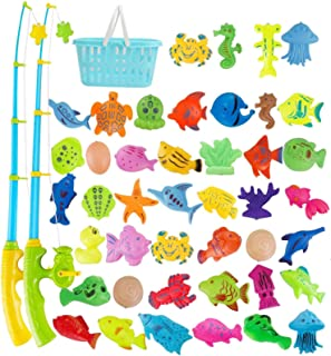 HOOME 60pcs Magnetic Fishing Pool Toys Game for Kids-Water Table Bath-tub Kiddie Party Toy with Pole Rod Net Plastic Float...