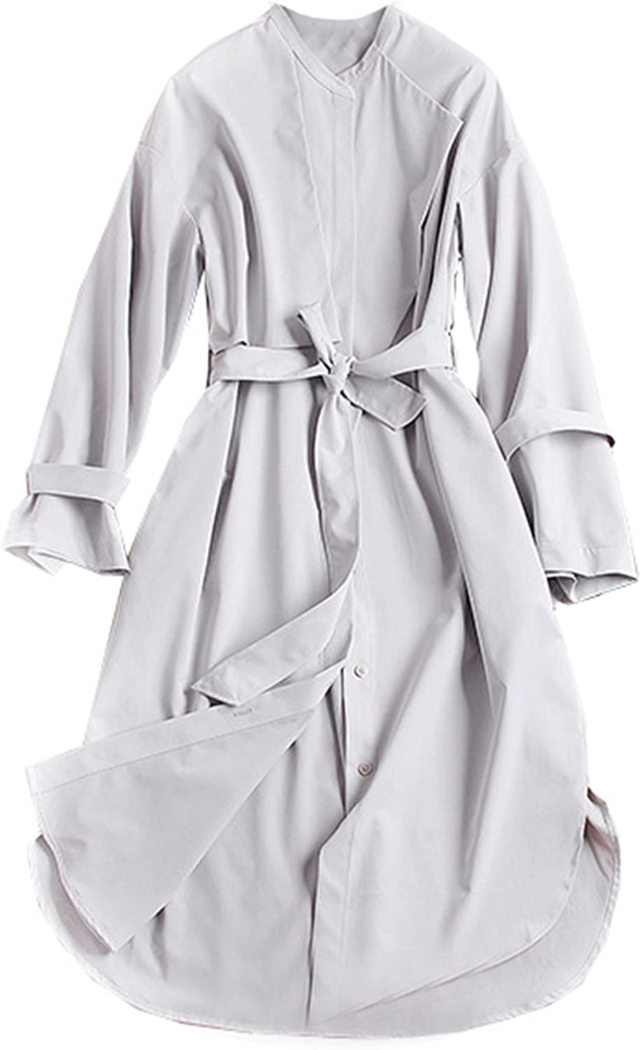 Allonly Women's Solid color Single Breasted Round Neck Trench Coat with Tie Waist