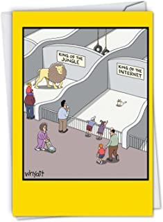 King of the Internet - Funny Cats Birthday Greeting Card with Envelope (4.63 x 6.75 Inch) - Lion and Grumpy Cat Zoo, Cartoon Stationery for Birthdays - Illustrated Animal Bday Note Card C6397BDG