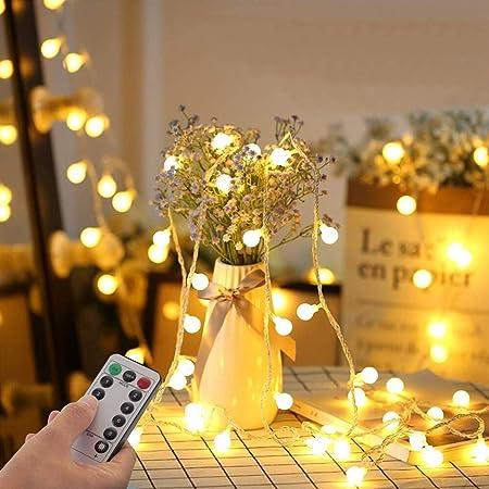 Guirlande Lumineuse Sphérique, Guirlande Lumineuse d'Extérieur avec Prise 100 LED 8 Modes avec télécommande pour Chambre à Coucher, Intérieur, Jardin, Noël et Mariage (Blanc Chaud)