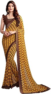 RAJESHWAR FASHION WITH RF Women's Georgette Saree With Blouse Piece (NEW,A20 YELLOW_Yellow)