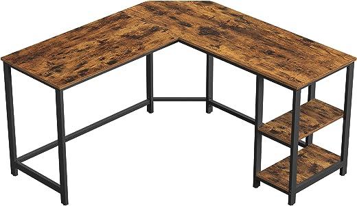 VASAGLE Schreibtisch, L-förmiger Computertisch, Eckschreibtisch mit 2 Ablagen, platzsparender Bürotisch im Industrie-Design, Gaming, einfacher…