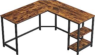 VASAGLE Bureau d'Angle, Table Informatique en Forme de L, Table d'étude, avec étagère de Rangement, pour Bureau à Domicil...