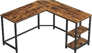 VASAGLE Bureau d'Angle, Table Informatique en Forme de L, Table d'étude, avec étagère de Rangement, pour Bureau à Domicile...