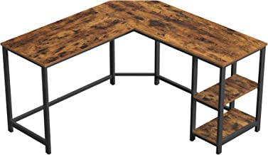 VASAGLE Computer Desk, 54-Inch L-Shaped Corner Desk, Writing Study Workstation with Shelves, Home Office, Industrial Style PC Laptop Table, Space-Saving, Easy to Assemble, Rustic Brown ULWD72X