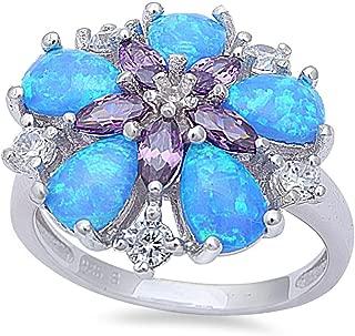 Oxford Diamond Co Lab Created Opal & Simulated Gemstone Flower Statement Womens Fashion Ring Sizes 5-10