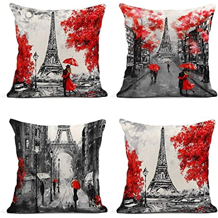 Amazon Com Jbralid Eiffel Tower Paris Red Background Pillow Cover Cotton Linen Indoor Decor Throw Pillow Case 12x20 In Home Kitchen