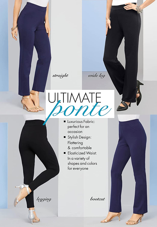Roamans Women's Plus Size Tall Bootcut Ultimate Ponte Pant Stretch Knit