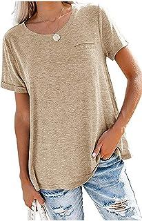 Camiseta de Manga Corta con Costura de Color sólido de Primavera y Verano para Mujer, Camiseta Holgada Informal con Cuello...