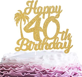 Happy 40th Birthaday Cake Topper - Gold Glitter Palm Forty Years Anniversary Party Décor - Slaying Dirty 40 - Hawaii Tropical Party Coconut Tree Decoration