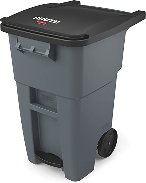 Rubbermaid Commercial Products Brute Rollout Step On Trash Garbage Can 50 Gallon Gray 1971956