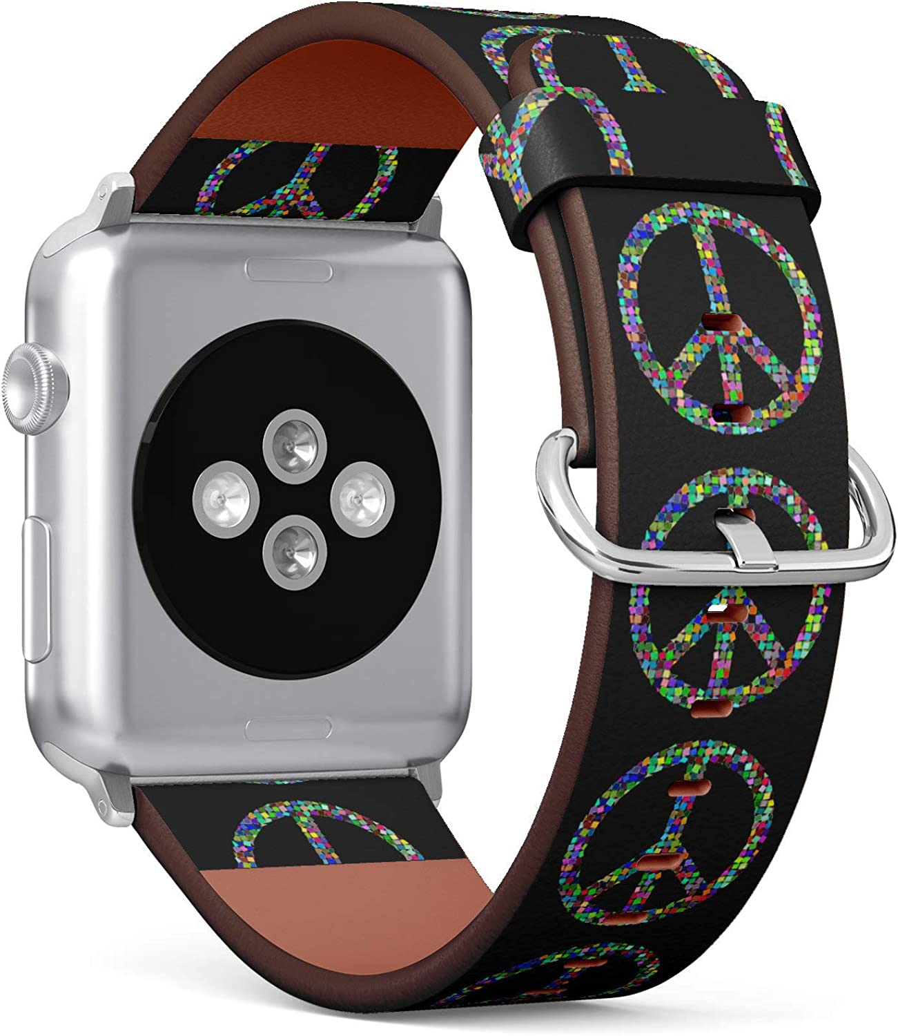 (Hippie Style Peace Sign) Patterned Leather Wristband Strap for Apple Watch Series 4/3/2/1 gen,Replacement for iWatch 38mm / 40mm Bands
