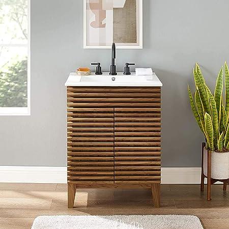 Amazon Com Modway Render Mid Century Bathroom Vanity With Sink In Walnut White Furniture Decor